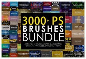 3000 Photoshop Stamp Brushes Bundle